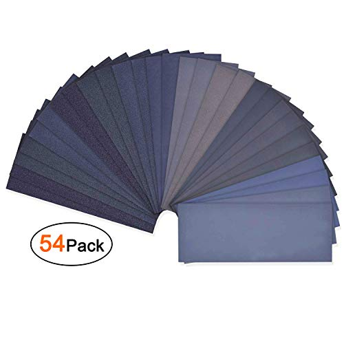 Asgens Sandpaper, 54 Pcs 60 to 3000 Grit Wet and Dry Waterproof Sandpaper Assortment for Automotive...