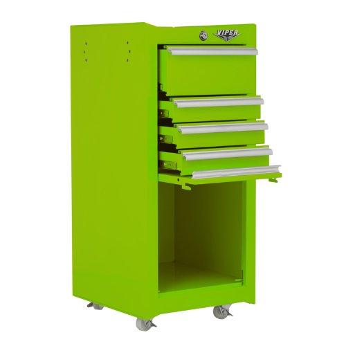 Viper Tool Storage V1804ORR 16-Inch 4-Drawer 18G Steel Rolling Tool/Salon Cart, with Bulk Storage,...