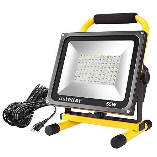 Ustellar 5500LM 55W LED Work Light (400W Equivalent), 2 Brightness Levels, Waterproof Portable Flood...