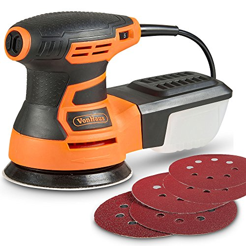 VonHaus Random Orbit Sander with 13000 RPM 6 Variable Speed and Dust Extractor System - Includes 5...