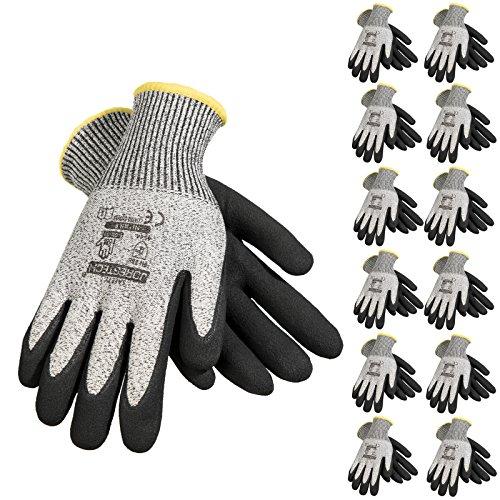 JORESTECH Safety Work Gloves Grey HPPE Knitted Fiber with Black Nitrile Sandy Finish Coating EN-388...