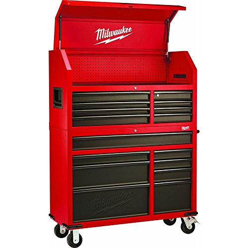 Heavy-duty, Drawer 16 Tool Chest 46 In. and Rolling Cabinet Set, Red and Black, Personal Valuables...