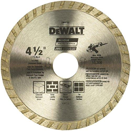 DEWALT DW4725 High Performance 4-1/2-Inch Dry Cutting Continuous Rim Diamond Saw Blade with 7/8-Inch...