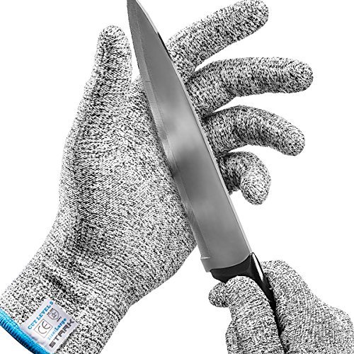 Stark Safe Cut Resistant Gloves (1 Pair) Food Grade Level 5 Protection, Safety Cutting Gloves for...