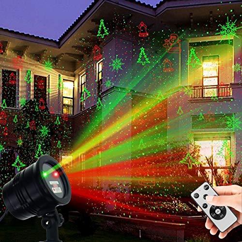 Christmas Laser Lights, Waterproof Projector Lights LED Landscape Spotlight Red and Green Star Show...
