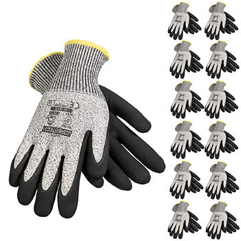 JORESTECH Grey Safety Work Gloves Pack of 12